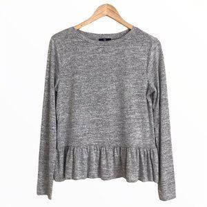 GAP | Long Sleeve Grey Marled Softspun Ruffle Hem